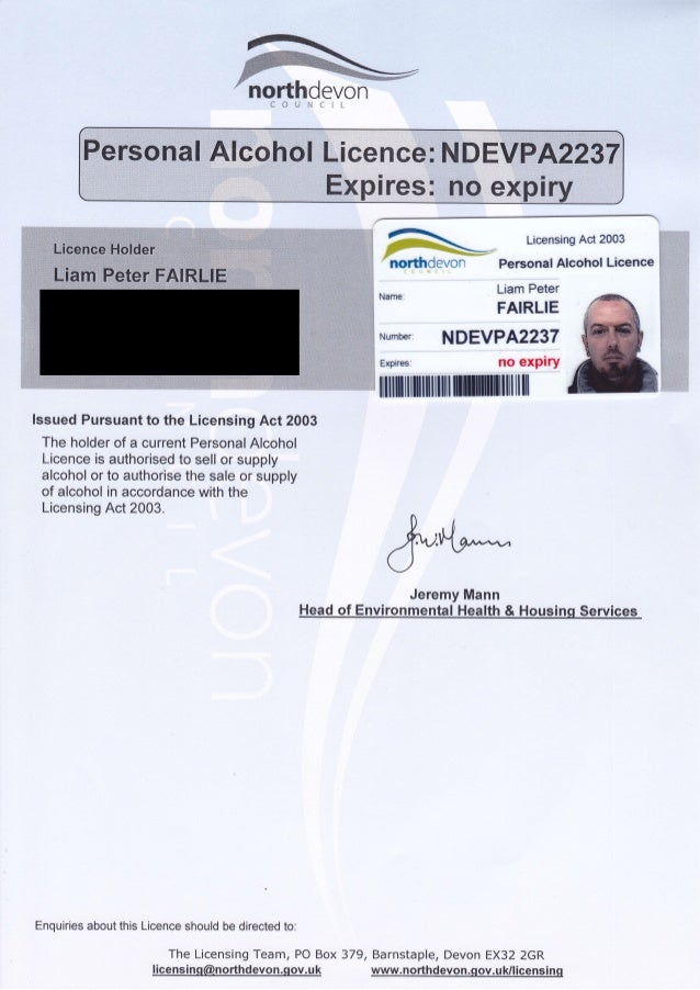 """i#fl :s . .*w""""?K""""H.!j!;tr.M,.#tr/q. n* ffi$*-tF*d*v#f""""] _ Licensing Act 2003 Personal Alcohol Licence Liam Peter FAIRLIE N..."""
