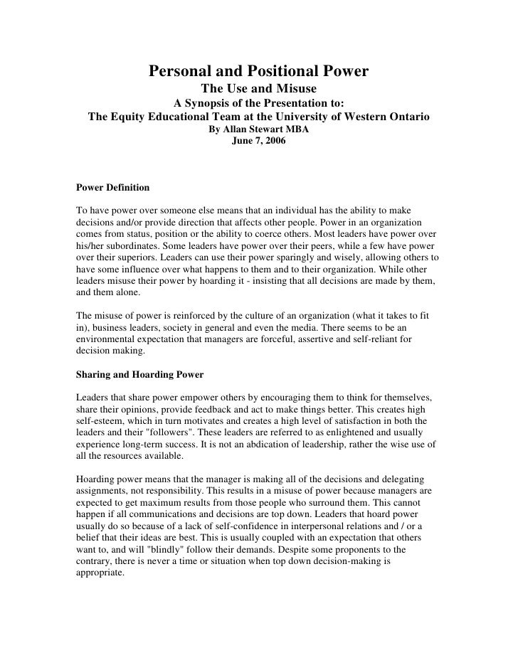 Personal and Positional Power<br />The Use and Misuse<br />A Synopsis of the Presentation to:<br />The Equity Educational ...