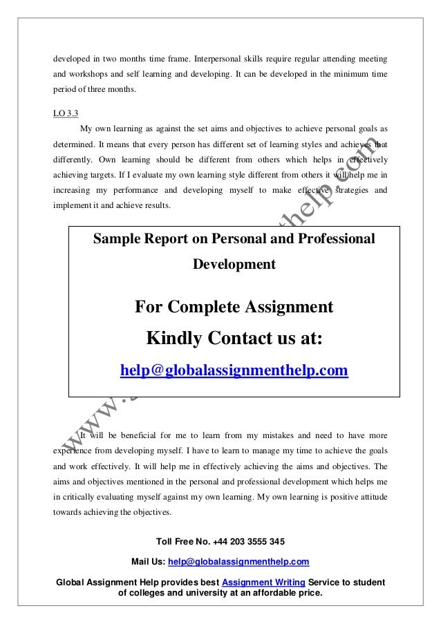 Unit 13 Personal and Professional Development Sample Assignment
