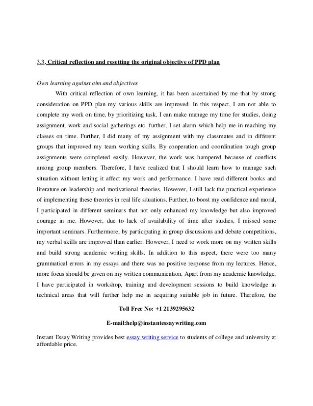 critical reflection on an incident: personal development essay Each student wrote a reflection essay on a self-defined critical  the personal and professional development  essay on a self-defined critical incident.