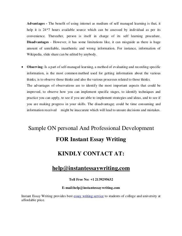 personal and professional development sample by instant essay writing 4