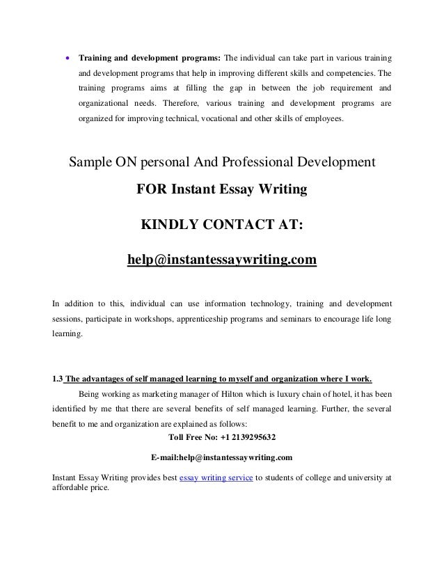 personal and professional development sample by instant essay writing 7