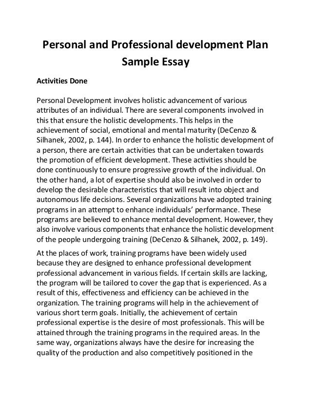 Personal and professional development plan sample essay
