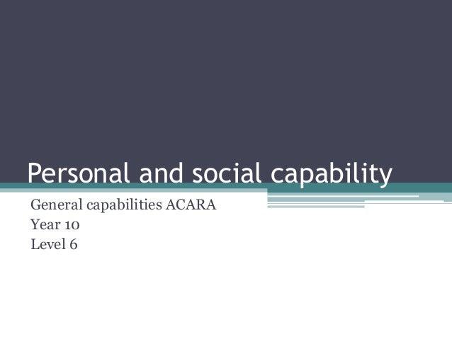 Personal and social capabilityGeneral capabilities ACARAYear 10Level 6