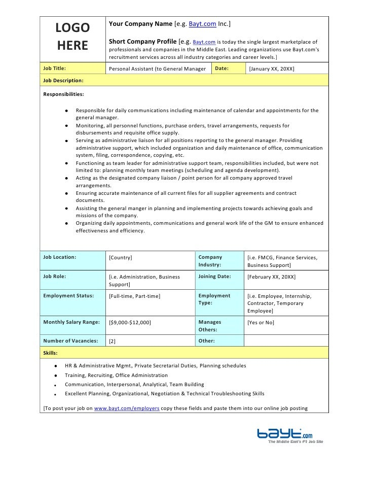 Personal Assistant Job Description Template by Bayt.com