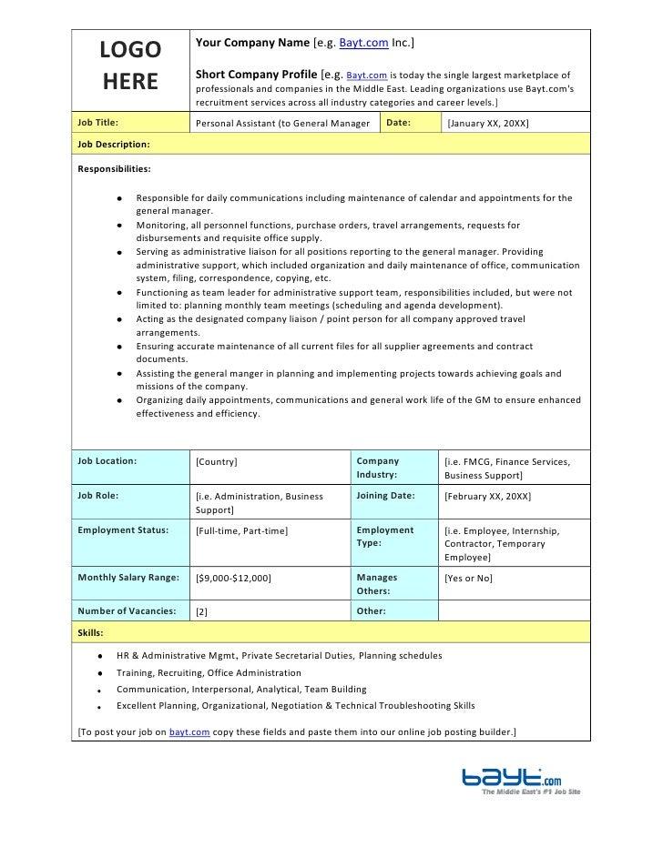 Superior LOGO HEREYour Company Name [e.g. Bayt.com Inc.]Short Company Profile [  Personal Assistant Job Description Template ...
