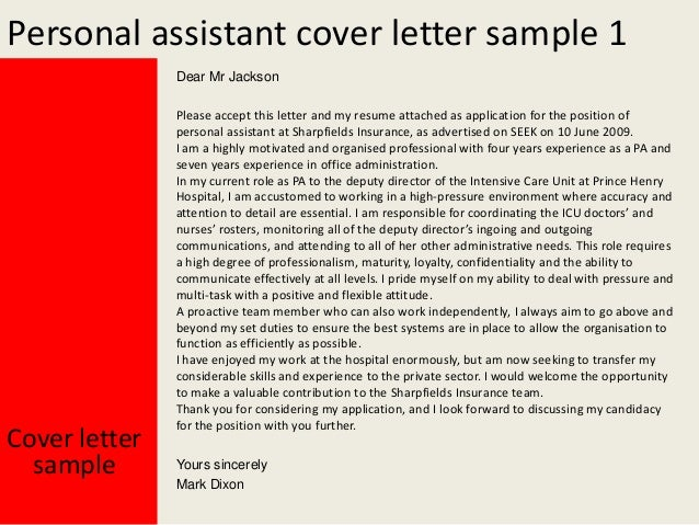 Personal assistant cover letter for Covering letter for personal assistant