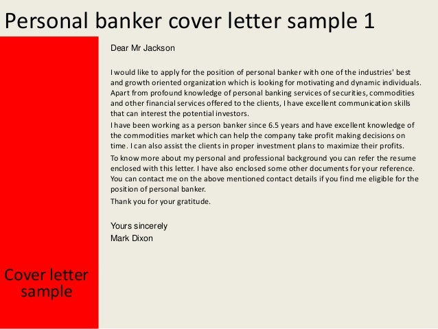 Perfect Personal Banker Cover Letter Sample