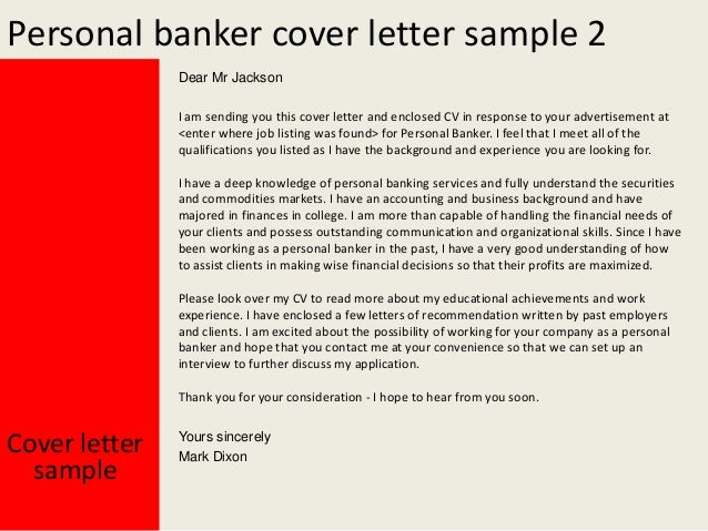 yours sincerely mark dixon cover letter sample 3 personal banker - Cover Letter For Banking