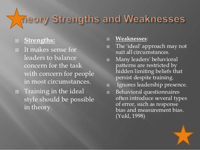 strengths and weaknesses of trait theory Leadership theory, background information, development and effectiveness, and  strengths and weaknesses will be analyzed also, each.