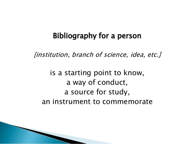 bibliography of a person