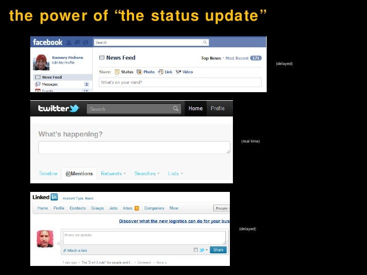 """the power of """"the status update"""" <ul><li>(delayed) </li></ul>(delayed) (real-time)"""