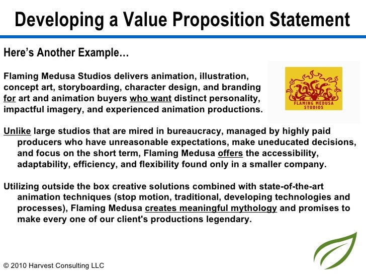 Developing a value proposition statement