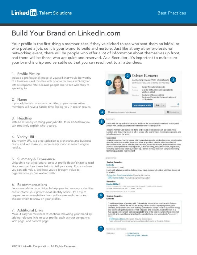 Talent Solutions                                               Best PracticesBuild Your Brand on LinkedIn.comYour profile ...