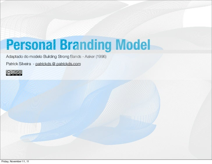 Personal Branding Model   Adaptado do modelo Building Strong Bands - Aaker (1996)   Patrick Silveira - patrickds @ patrick...