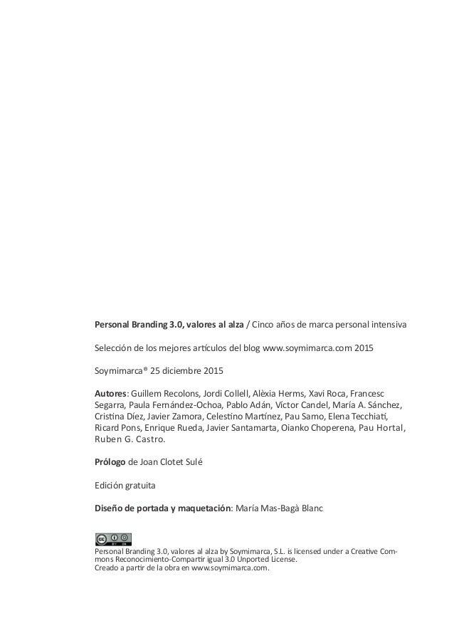 Personal branding 3.0 Valores al alza Slide 2