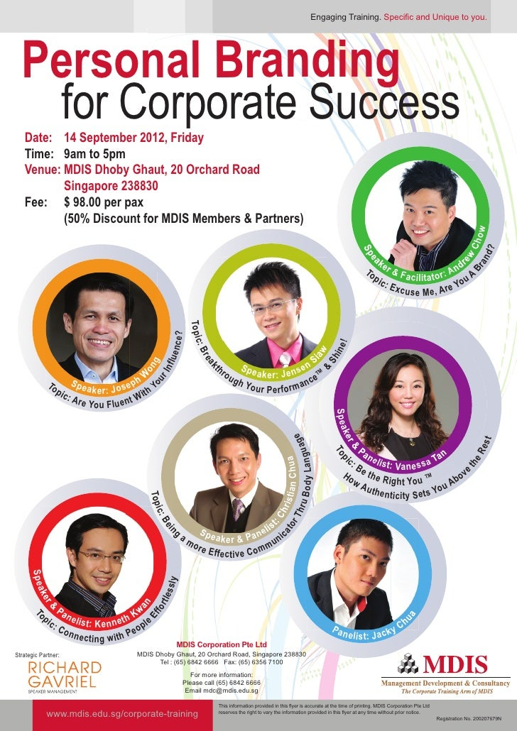 Engaging Training. Specific and Unique to you.  Personal Branding   for Corporate Success   Date: 14 September 2012, Frida...