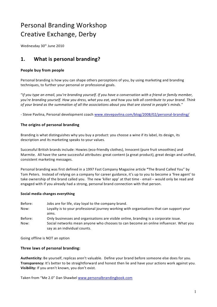 Personal branding in the digital age - course handouts