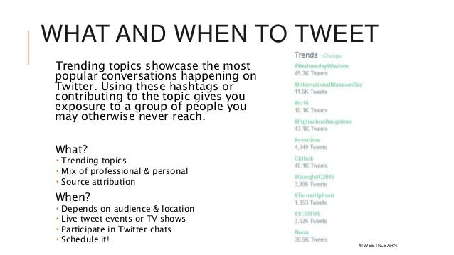 WHAT AND WHEN TO TWEET Trending topics showcase the most popular conversations happening on Twitter. Using these hashtags ...