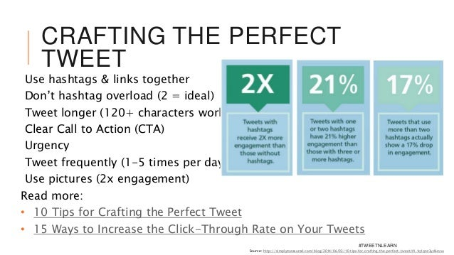 CRAFTING THE PERFECT TWEET Use hashtags & links together Don't hashtag overload (2 = ideal) Tweet longer (120+ characters ...