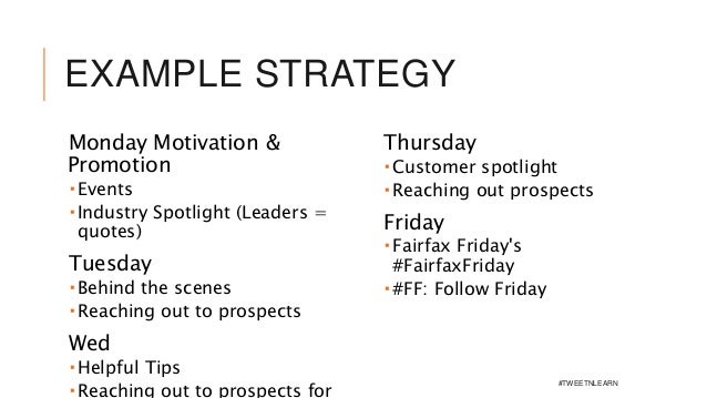 EXAMPLE STRATEGY Monday Motivation & Promotion  Events  Industry Spotlight (Leaders = quotes) Tuesday  Behind the scene...