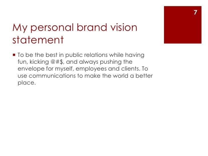Vision statement for myself