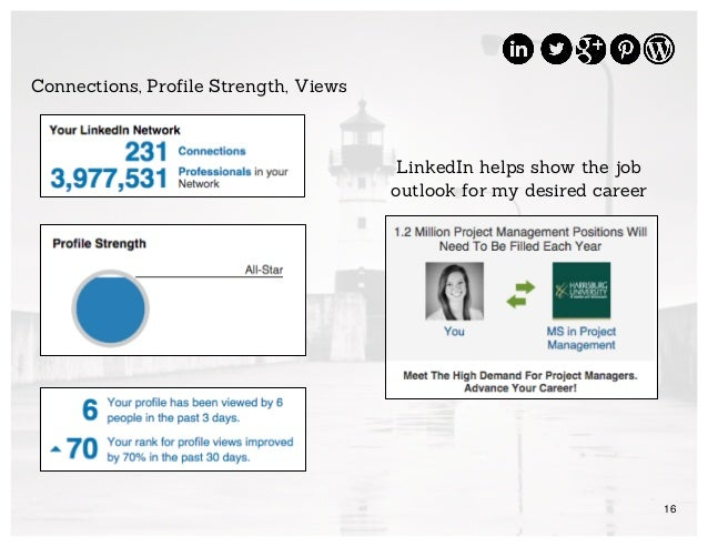16 Connections, Profile Strength, Views LinkedIn helps show the job outlook for my desired career