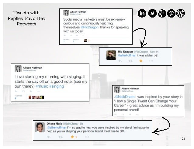 21 Tweets with Replies, Favorites, Retweets