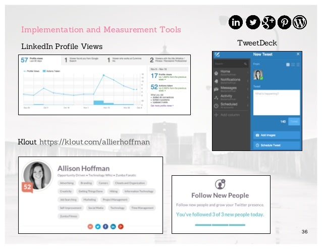 36 Implementation and Measurement Tools TweetDeck Klout https://klout.com/allierhoffman LinkedIn Profile Views