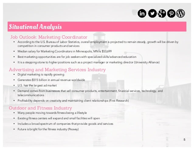 5 Situational Analysis Job Outlook: Marketing Coordinator • According to the U.S. Bureau of Labor Statistics, overall empl...