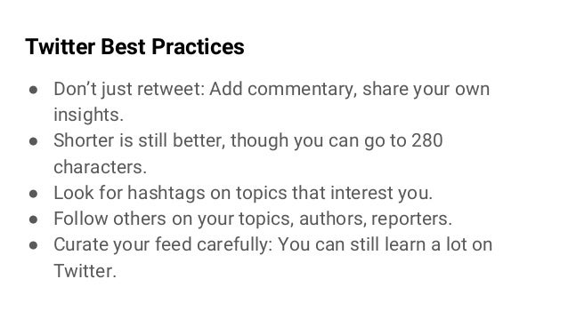 Exercise: Twitter post 1. Find an article to share 2. Write a Twitter post to share it with your network [280 characters o...
