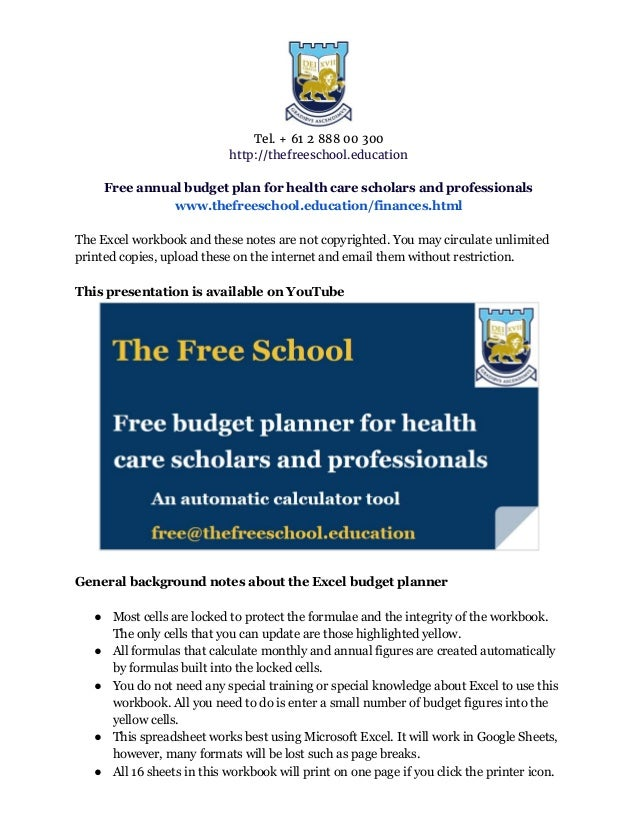 free auto budget plan tool for health care scholars and professionals