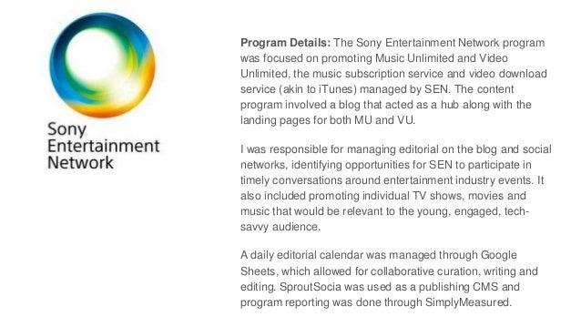 Sony Entertainment Network - Program Overview