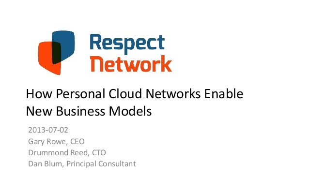 How Personal Cloud Networks Enable New Business Models 2013-07-02 Gary Rowe, CEO Drummond Reed, CTO Dan Blum, Principal Co...