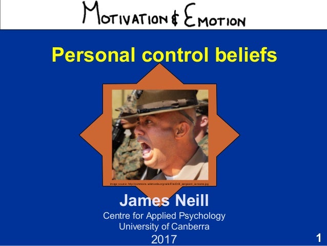 1 Motivation & Emotion James Neill Centre for Applied Psychology University of Canberra 2017 Personal control beliefs Imag...