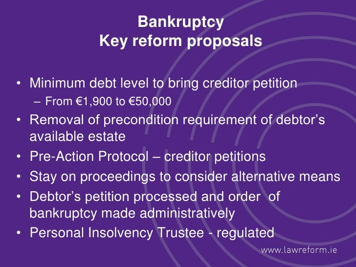 bankruptcy should be viewed as a last resort for financial problems There is a good argument that bankruptcy should be the alternative of last resort  for repaying  filing bankruptcy is typically not considered a pleasant thing to do  even  a debtor who obtains a bankruptcy discharge can typically obtain debt to .