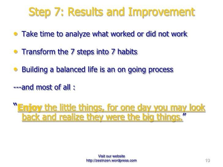 Step 7: Results and Improvement <ul><li>Take time to analyze what worked or did not work </li></ul><ul><li>Transform the 7...
