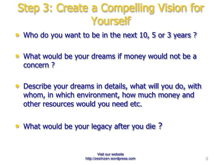 Step 3: Create a Compelling Vision for Yourself <ul><li>Who do you want to be in the next 10, 5 or 3 years ? </li></ul><ul...