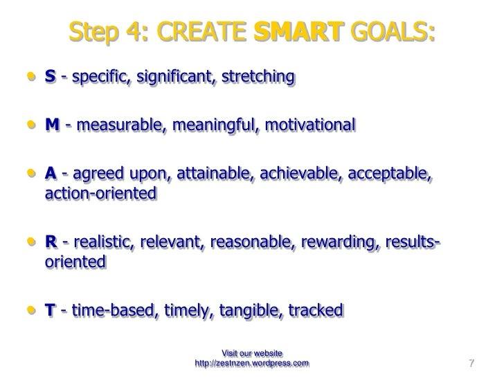 Step 4: CREATE  SMART  GOALS:   <ul><li>S - specific, significant, stretching </li></ul><ul><li>M - measurable, meaningf...