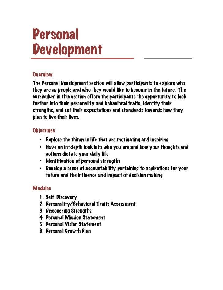 Personal Development Summary