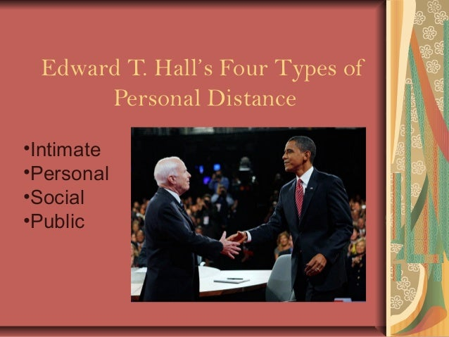 Edward T. Hall's Four Types of Personal Distance •Intimate •Personal •Social •Public