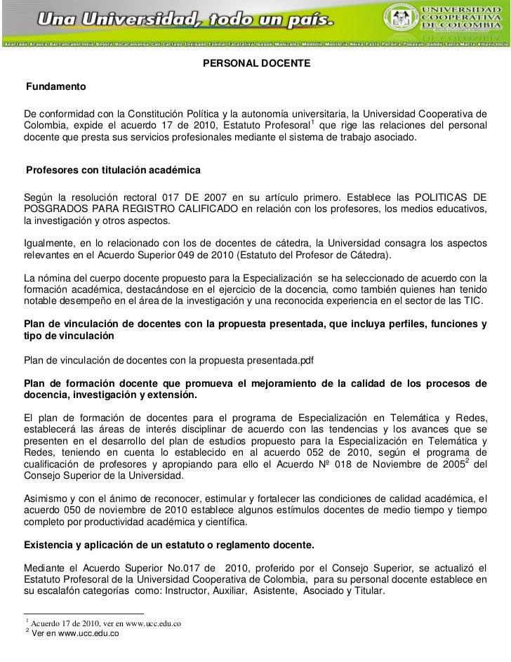 PERSONAL DOCENTEFundamentoDe conformidad con la Constitución Política y la autonomía universitaria, la Universidad Coopera...