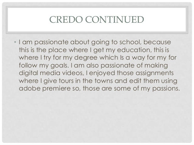 how to write a personal credo