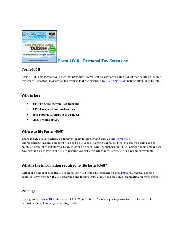 Personal Tax Extension