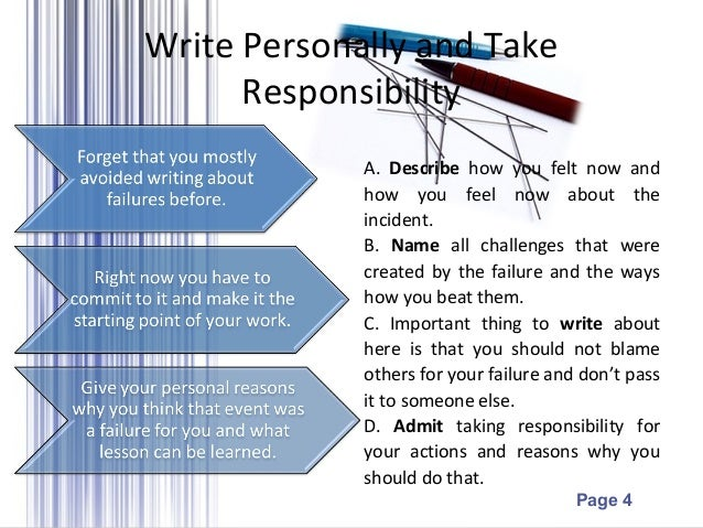 personal essay about failure To be a success in any endeavor, the first thing to do is identify what personal success means to you  what does personal success mean to you.