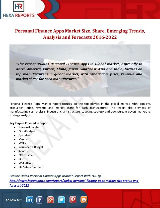 Personal finance apps market size, share, emerging trends, analysis a…