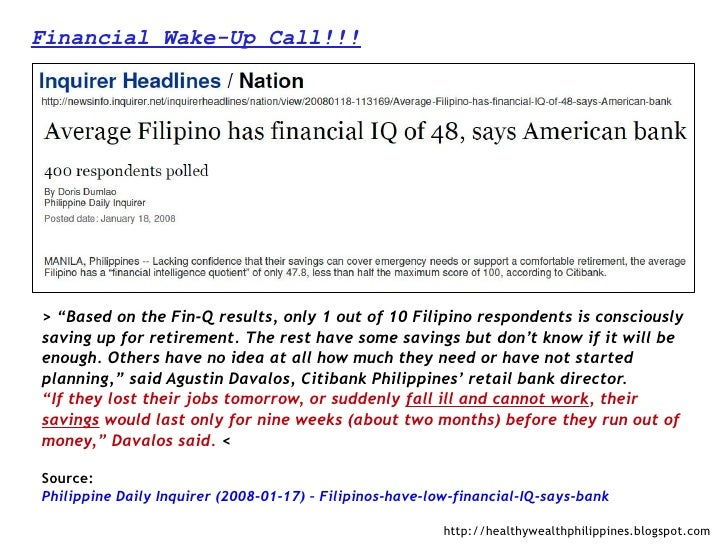 """Financial Wake-Up Call!!!> """"Based on the Fin-Q results, only 1 out of 10 Filipino respondents is consciouslysaving up for ..."""