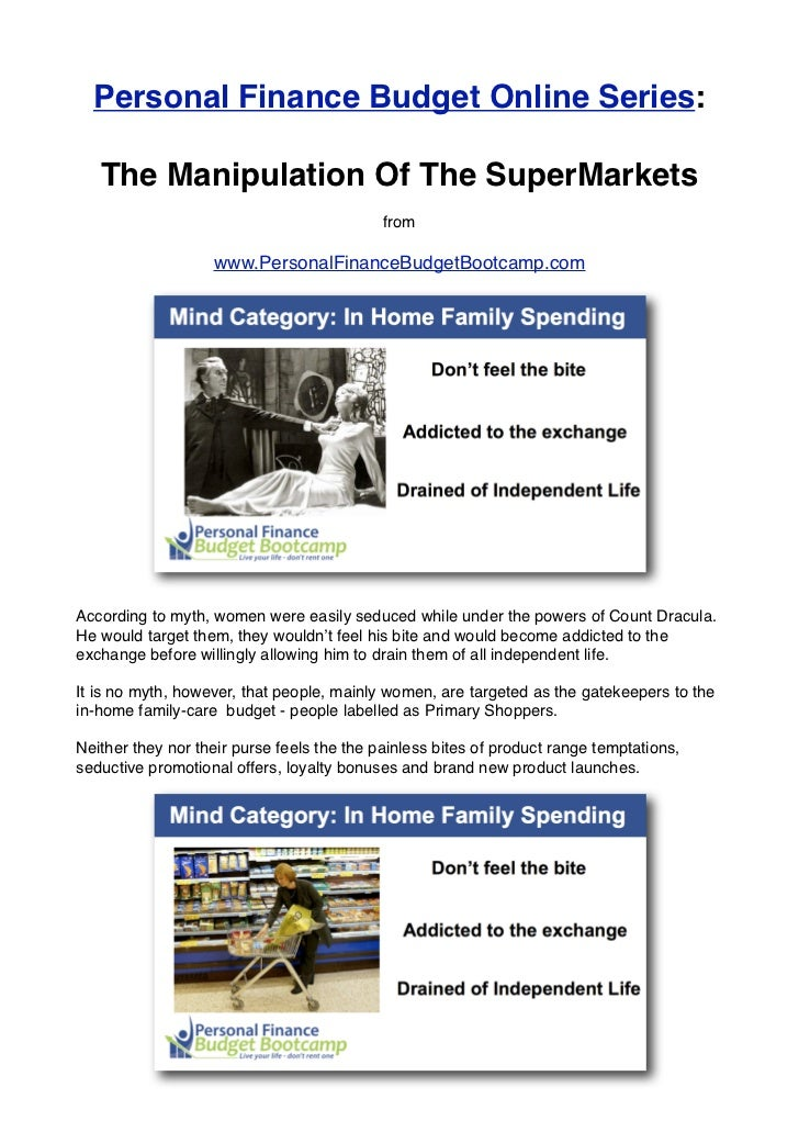 Personal Finance Budget Online Series:   The Manipulation Of The SuperMarkets                                            f...
