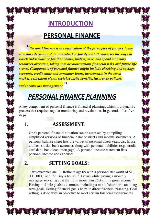 personal finance and wealth management project report