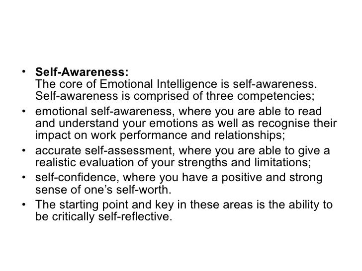 self awareness and self esteem goleman s emotional intelligence model 2002 5 <ul><li>self awareness
